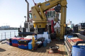 Our gear on deck of the tug