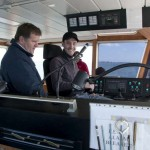 Lieven at the helm of the tug
